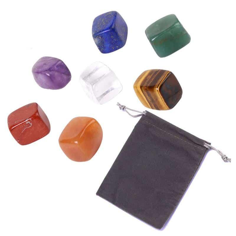 Piedra Natural de Chakra para Yoga, piedra de Reiki curativa Irregular, piedra de cristales pulida Individual, 7 colores/juego