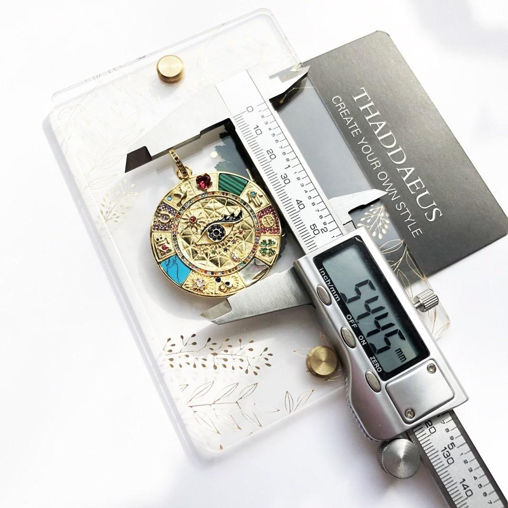 Amuleto colgante con símbolos mágicos de la suerte para hombre y mujer, Plata de Ley 925 pura