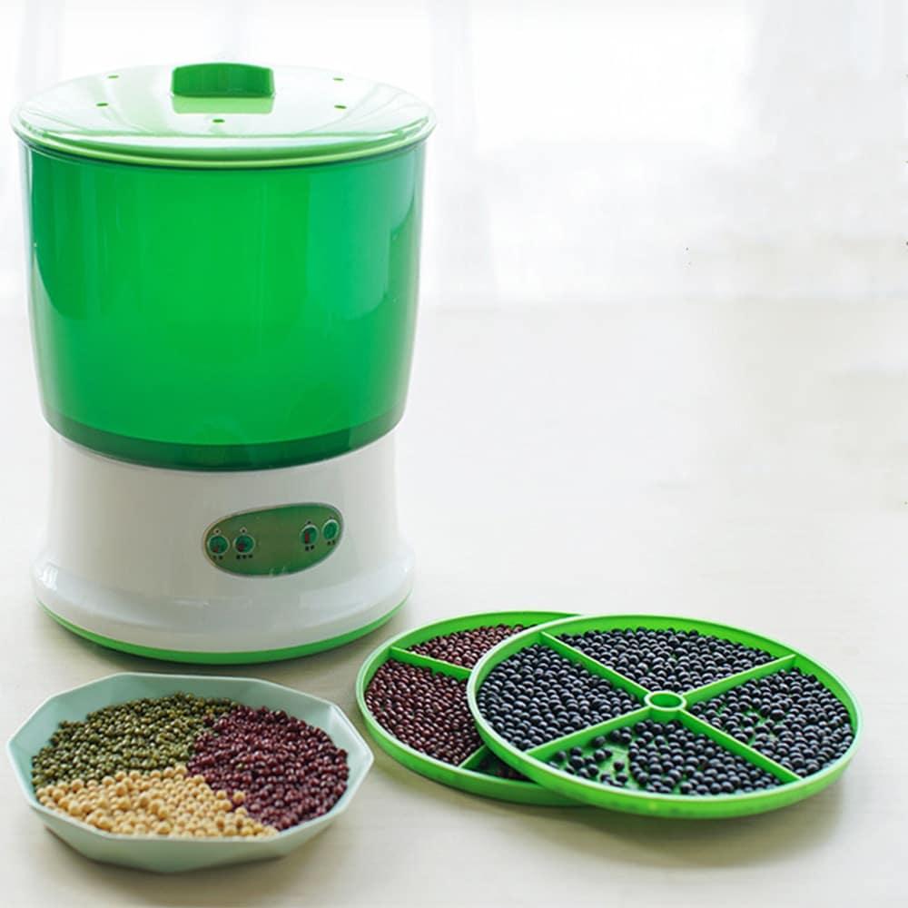 Máquina de brotes de soja de 220V 50Hz termostato de gran capacidad para uso doméstico, brotes de semillas verdes, automático