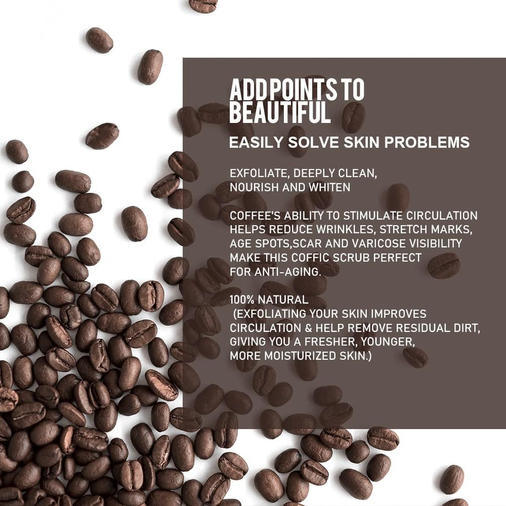 Exfoliante corporal de café, tratamiento hidratante, anticelulítico, acné